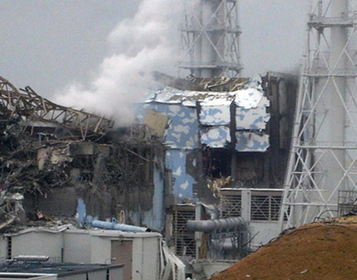 Fukushima Daiichi nuclear power plant and damaged reactors from explosions post tsunami