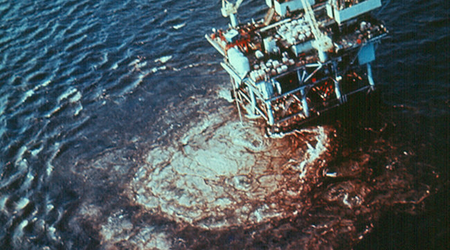 """Union Oil's Platform A blew out on January 28, 1969, six miles off the Santa Barbara coast. The spill fouled 35 miles of southern California coastline."""