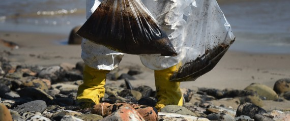 """Workers clean oil from the rocks and beach at Refugio State Beach in Goleta, California, May 22, 2015. The oil company behind a crude spill on the California coast vowed to do the """"right thing"""" to clear up the mess, even as reports emerged of past leaks involving its pipelines. Plains All American Pipeline made the pledge as it said nearly 8,000 gallons of oil had been scooped up, out of some 21,000 gallons believed to have flooded into the ocean near Santa Barbara, northwest of Los Angeles.    AFP PHOTO/ MARK RALSTON        (Photo credit should read MARK RALSTON/AFP/Getty Images)"""