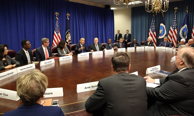 President Obama meets with agriculture and business leaders to discuss the benefits of the Trans-Pacific Partnership for American business and workers. Photograph: Martin H Simon/EPA