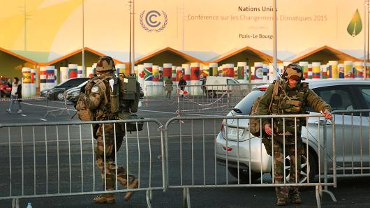 Security measures are seen during final preparations for the COP21, Paris Climate Conference