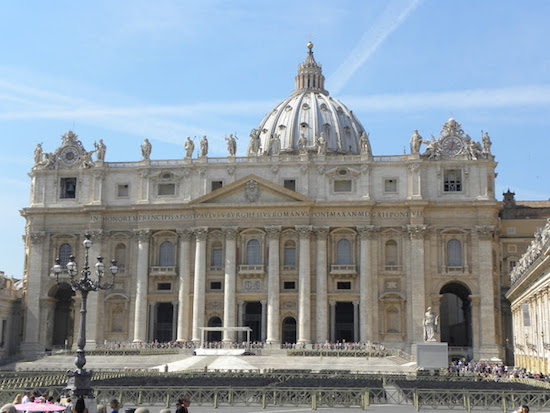 St. Peter's Basilica in Rome with CHEMTRAILS crisscrossing above