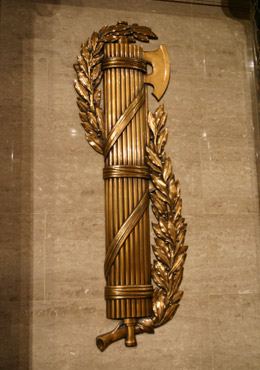 This is one of a pair of bronze fasces appear in the U.S. House of Representatives, flanking the Speaker's Rostrum. (Office of the Clerk, U.S. House of Representatives)