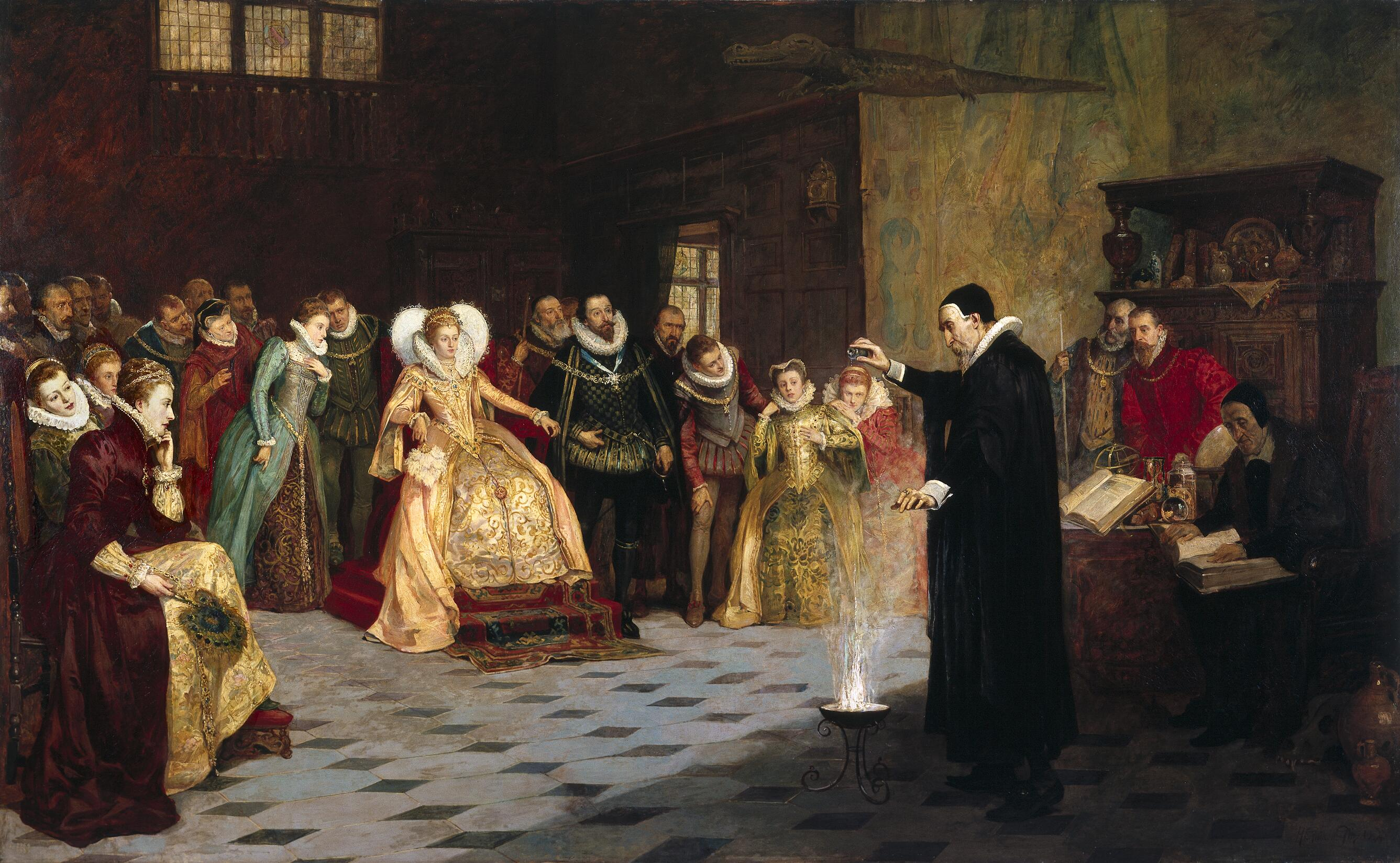 Illuminism, Freemasonry and the Great White Brotherhood Glindoni_John_Dee_performing_an_experiment_before_Queen_Elizabeth_I