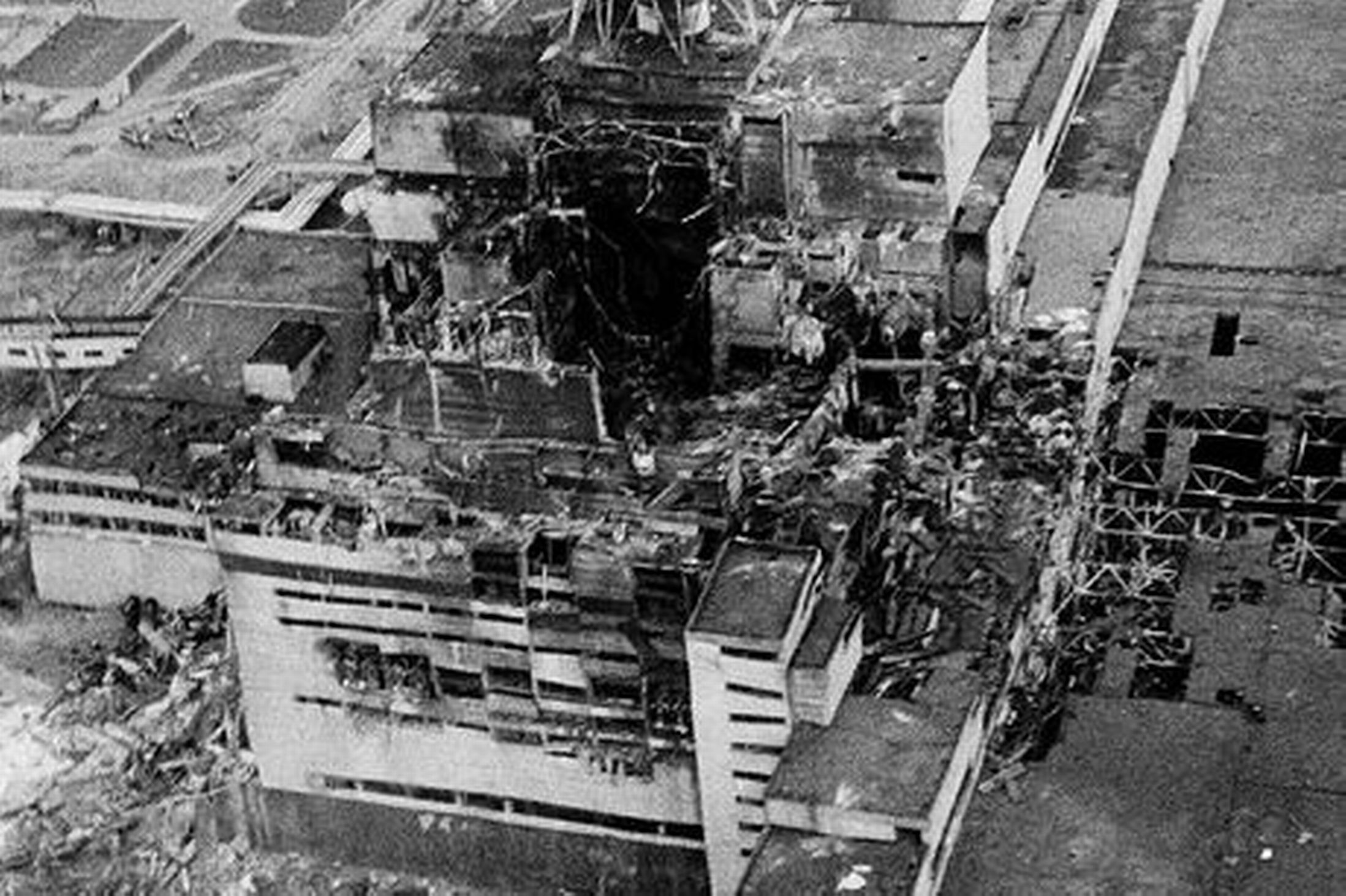 The Chernobyl nuclear reactor after the disaster. Reactor 4