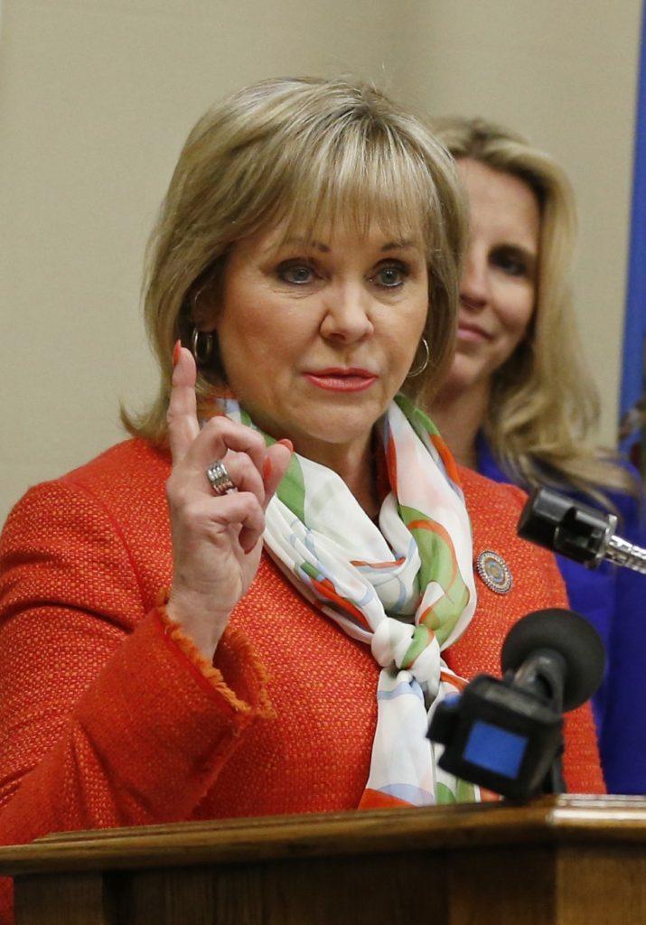 Oklahoma Gov. Mary Fallin, left, has not said if she plans to sign the bill. (Sue Ogrocki/Associated Press)
