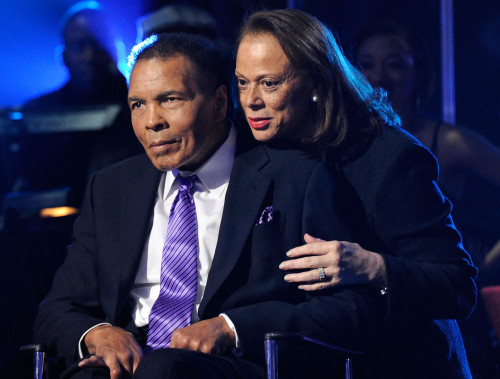 "LAS VEGAS, NV - FEBRUARY 18: (EXCLUSIVE COVERAGE) Boxing legend Muhammad Ali (L) and wife Lonnie Ali appear onstage during the Keep Memory Alive foundation's ""Power of Love Gala"" celebrating Muhammad Ali's 70th birthday at the MGM Grand Garden Arena February 18, 2012 in Las Vegas, Nevada. The event benefits the Cleveland Clinic Lou Ruvo Center for Brain Health and the Muhammad Ali Center. (Photo by Ethan Miller/Getty Images for Keep Memory Alive) *** Local Caption *** Muhammad Ali; Lonnie Ali"