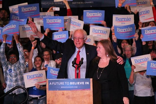 PAUL HEINTZ Sen. Bernie Sanders and his wife, Jane O'Meara Sanders, at a rally in Reno, Nev.