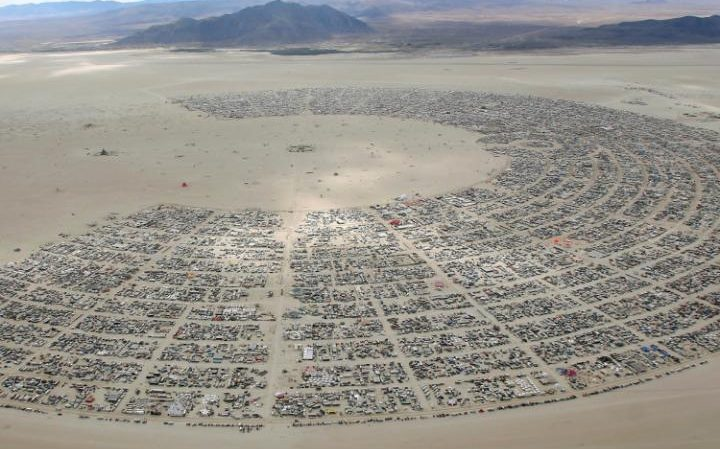 An aerial view of the Burning Man festival CREDIT: REUTERS