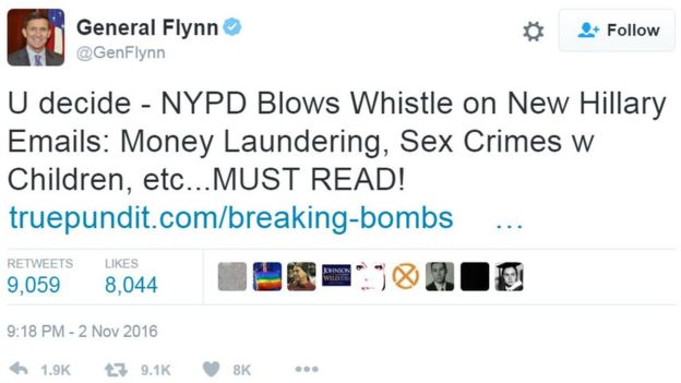 Michael Flynn Snr has also tweeted out bizarre conspiracy theories linking Hillary Clinton to paedophilia
