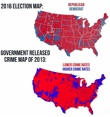 Why does the 2016 Election Map line up so well with the US Crime