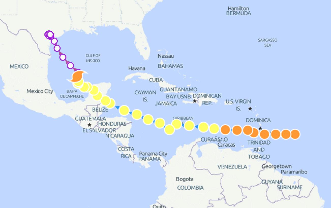 Hurricane Harvey Storm Path Starting In The Atlantic Ocean