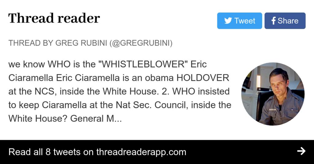WHISTLEBLOWER IDed! Ciaramella —> Eric Ciaramella